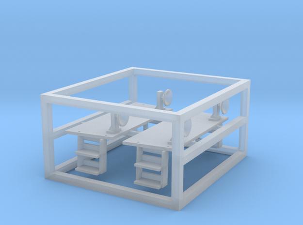 Platformen BLS Ae6/8 Fulgurex N (1:160) 3d printed Links das reparierte Modell - Sie erhalten den dunkel eingefärbten Teil 2x. Rechts eine Plattform nach dem Herauslösen aus dem Rahmen.-------- On the left side the repaired Model. You get the dark part (2x). On the right one Platform out of the frame.