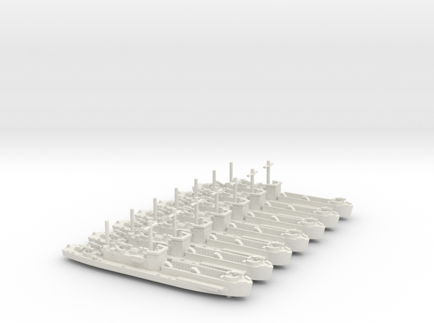 7 x LCI(L) Square Bridge & side ramps, 1/700 Scale in White Strong & Flexible