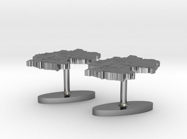 Germany Terrain Cufflink Pair - Flat 3d printed