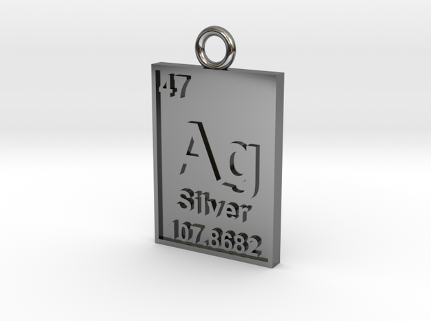 Silver Periodic Table Pendant 3d printed