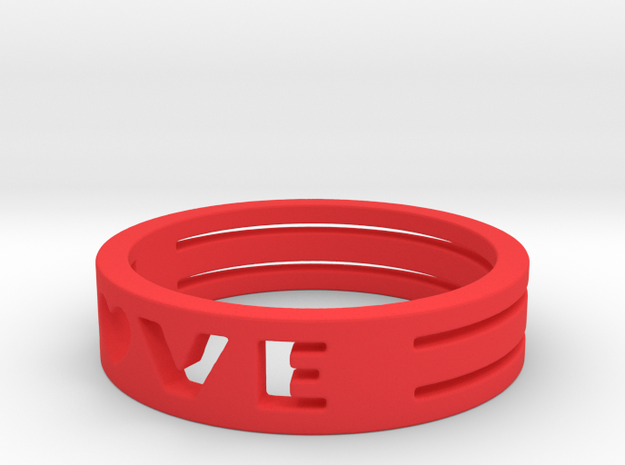 LOVE Ring Size 5.5 in Red Processed Versatile Plastic