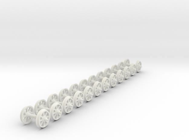 55n2 wheels on axles 8 Spoke 10.5mm diameter 12mm  in White Natural Versatile Plastic