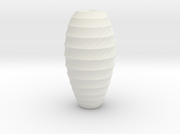 twisted long oval vase in White Natural Versatile Plastic