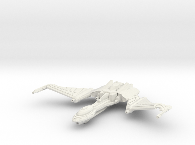 Qu'Hegh Bird Of Pray Class Cruiser -wings Up- in White Strong & Flexible