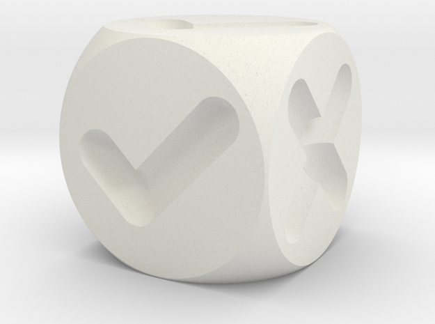 Decision Dice in White Natural Versatile Plastic
