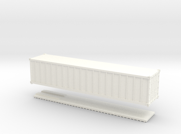 Z Scale 40' Intermodal Container in White Processed Versatile Plastic