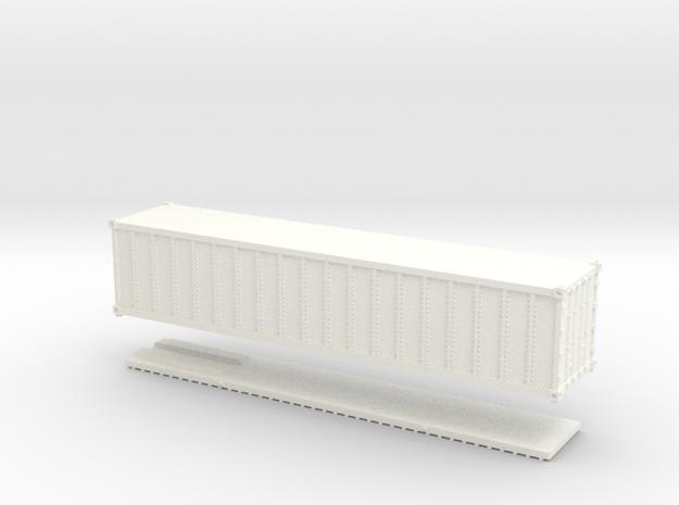 Z Scale 40' Intermodal Container in White Processed Versatile Plastic