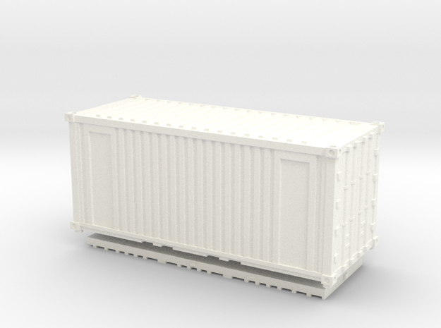 Z Scale 20' Intermodal Container in White Processed Versatile Plastic