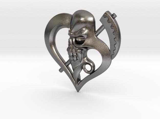 Grim Reaper heart in Polished Bronzed Silver Steel