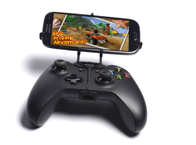 Xbox One controller & Samsung Galaxy J 3d printed Front View - A Samsung Galaxy S3 and a black Xbox One controller
