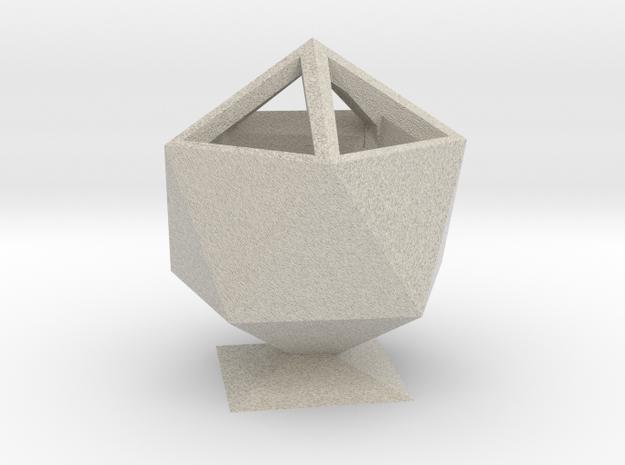 Icosahedron Pencil Cup in Natural Sandstone
