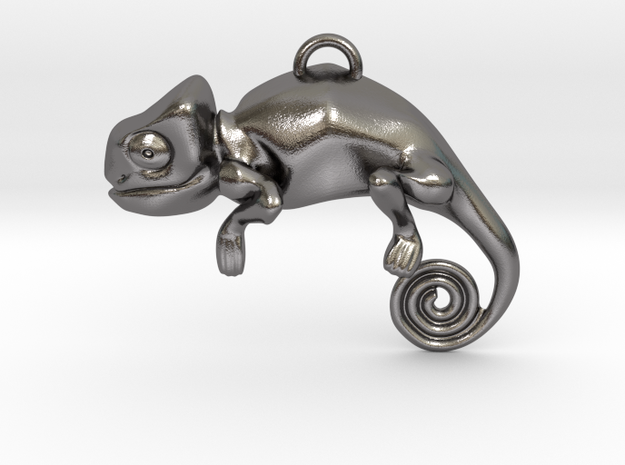 Enigmatic Chameleon Pendant in Polished Nickel Steel