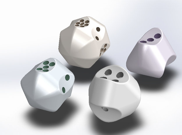 Set of hollow dice with concave faces (pips) 3d printed