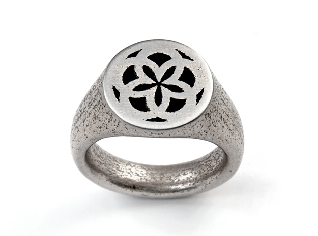 Ornament Ring in Polished Bronzed Silver Steel