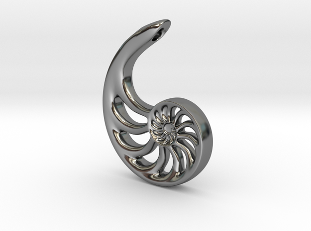 Nautilus Spiral: 4cm in Fine Detail Polished Silver