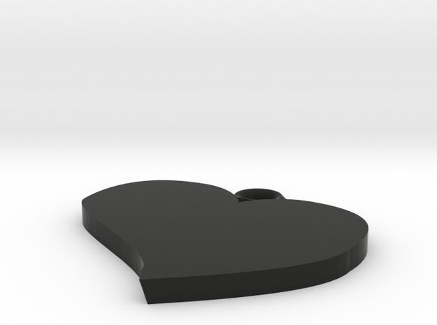 Cute Heart Pendant in Black Natural Versatile Plastic