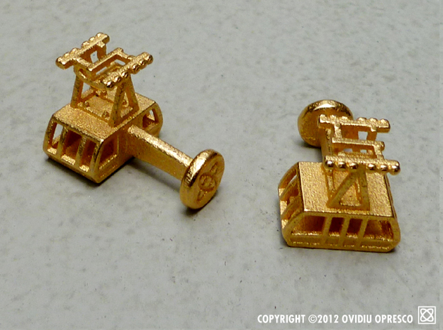 The New (2010) Roosevelt Island Tram Cuff-Links  in Polished Gold Steel