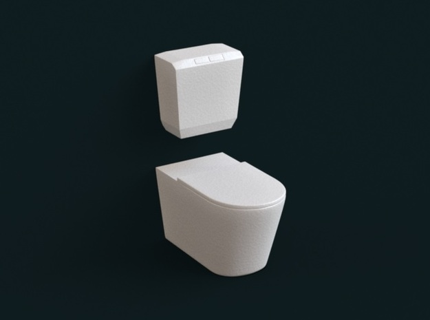 1:39 Scale Model - Flush Toilet 04 in White Natural Versatile Plastic