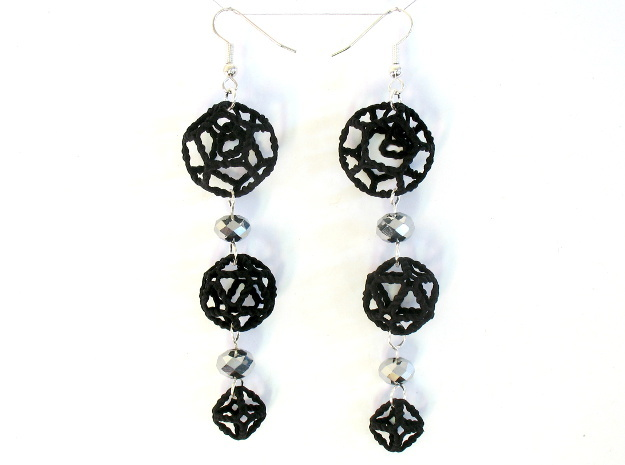 Platonic Progression Earrings - Organic in Black Natural Versatile Plastic