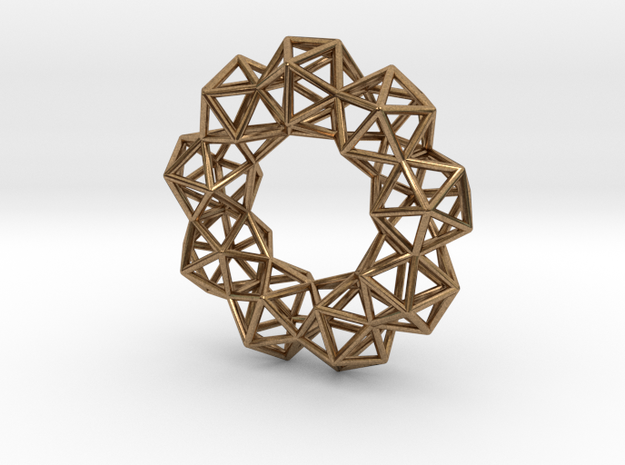 Icosahedron Radial Pendant in Natural Brass