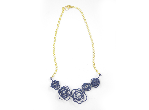 Sprouted Spiral Necklace 3d printed Azurite (Custom Dyed Color)