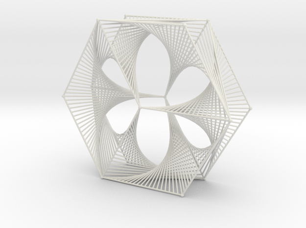 Wired Six Petals Straight Line Curves Mesh  in White Natural Versatile Plastic
