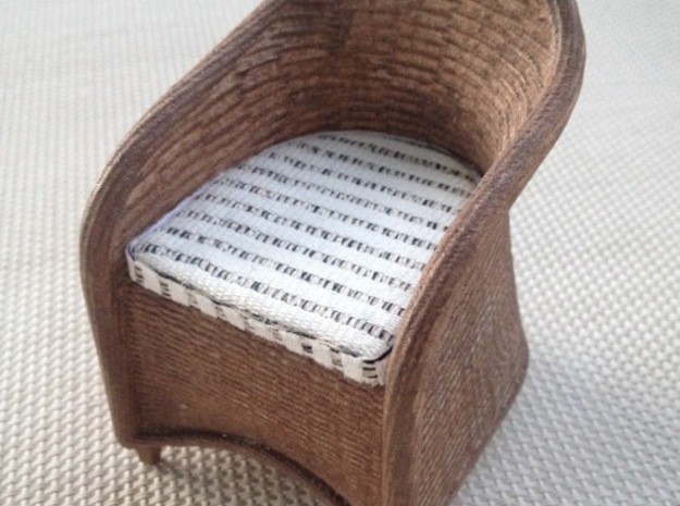 1:12 Wicker Chair Miniature Dollhouse in White Strong & Flexible Polished