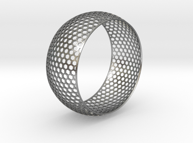 Vertical Honey Comb Rounded Bracelet in Natural Silver