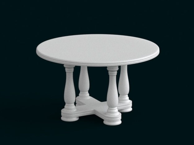 1:39 Scale Model - Table 02 in White Natural Versatile Plastic
