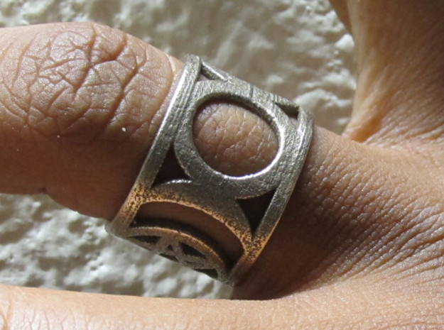 Pentagram and Goddess Symbol Ring