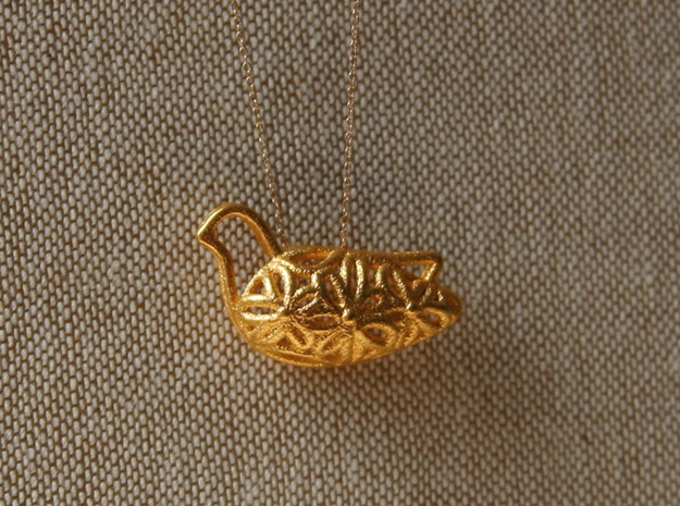 """Flower Bird"" pendant in 14k Rose Gold Plated Brass"