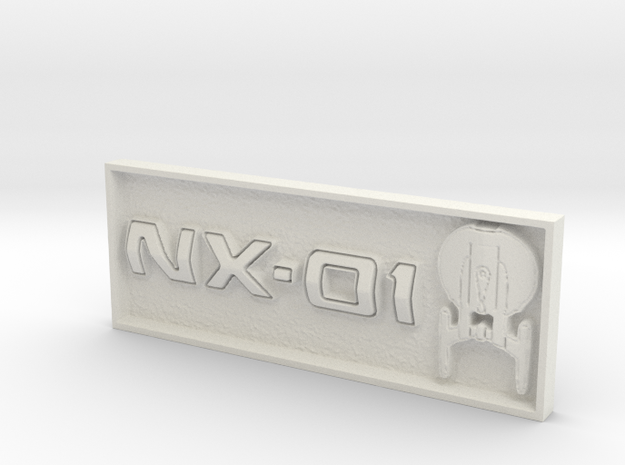 "NX-01 2"" x .75"" Badge. in White Natural Versatile Plastic"
