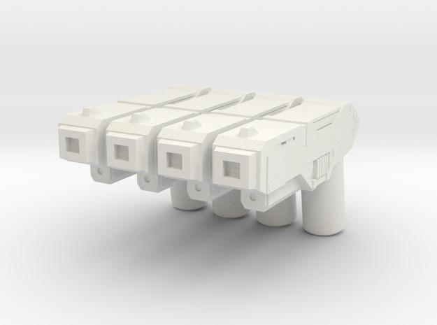 Custom futuristic pistol x4 for Lego minifigs  in White Natural Versatile Plastic