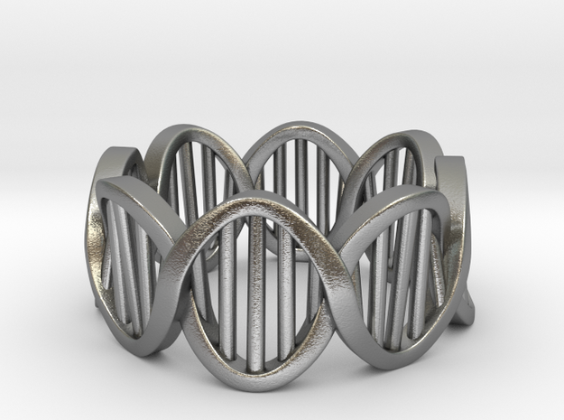 DNA Ring (Size 8) in Natural Silver