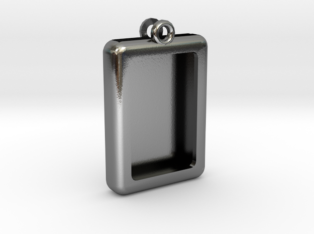 Rectangular Frame Pendant in Polished Silver