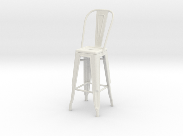 1:24 Tall Pauchard Stool, with High Back in White Natural Versatile Plastic