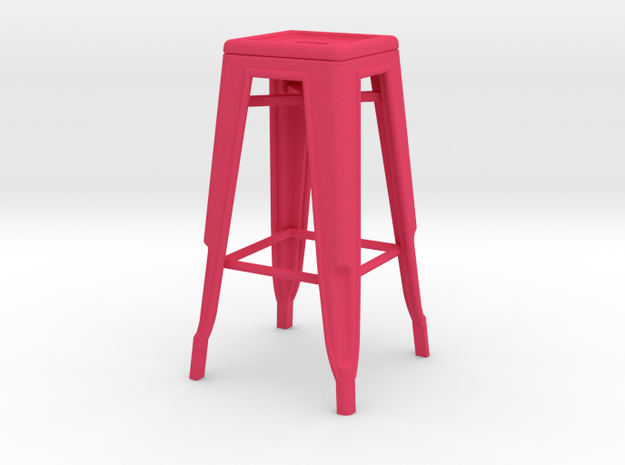 1:12 Tall Pauchard Stool in Pink Processed Versatile Plastic
