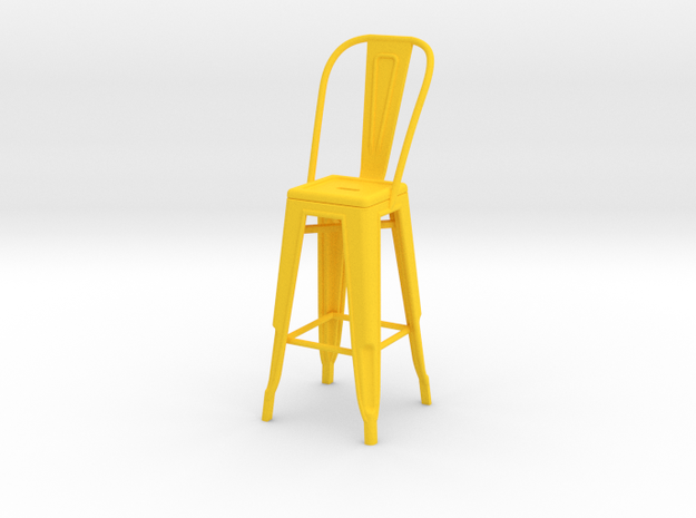 1:12 Tall Pauchard Stool, with High Back in Yellow Strong & Flexible Polished