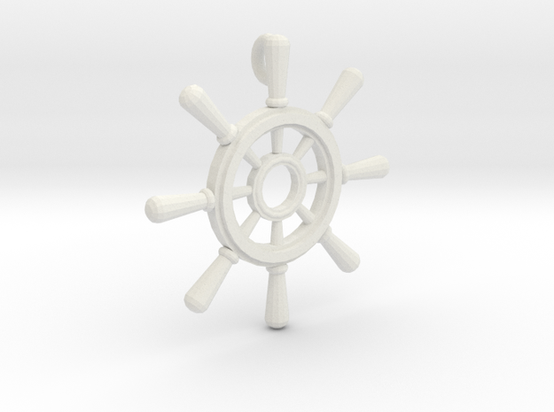 Ships Wheel Pendant in White Natural Versatile Plastic