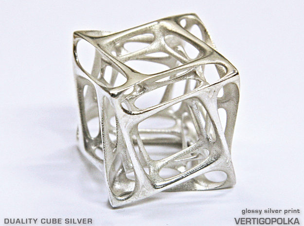 Duality Cube Silver in Polished Silver