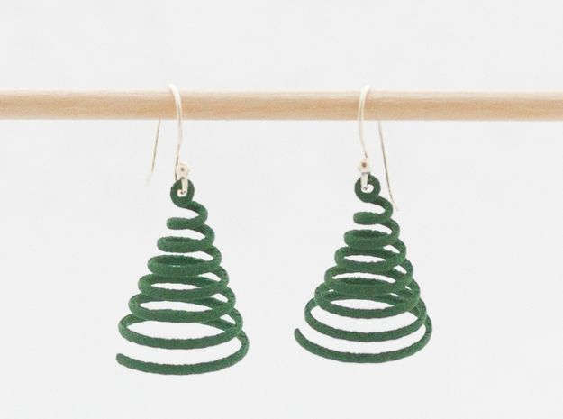 Spiral Earrings in Green Processed Versatile Plastic