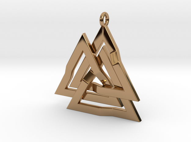 Valknut Pendant 2 in Polished Brass