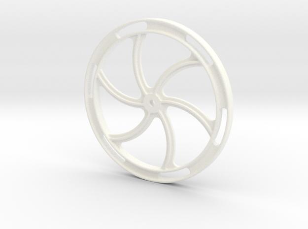 "Hand Brake Wheel - 2.5"" scale in White Processed Versatile Plastic"