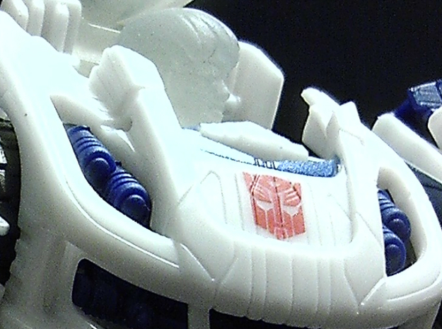 Daniel Homage Exosuit Head For TF FOC JAZZ 3d printed JAZZ body is fully transformable with head attached.Close-up of Daniel head printed in Frosted Ultra Detail.