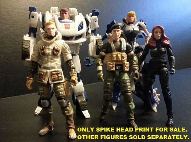 SPIKE Homage Exosuit Head For TF FOC JAZZ 3d printed ONLY SPIKE HEAD INCLUDED WITH PURCHASE. JAZZ body is fully transformable with Spike head attached. Spike head printed in Full Color Sandstone on FOC Jazz body. Sold separately, the 4 inch G.I. Joes and Carly Head on the Arcee body were used to show scale.