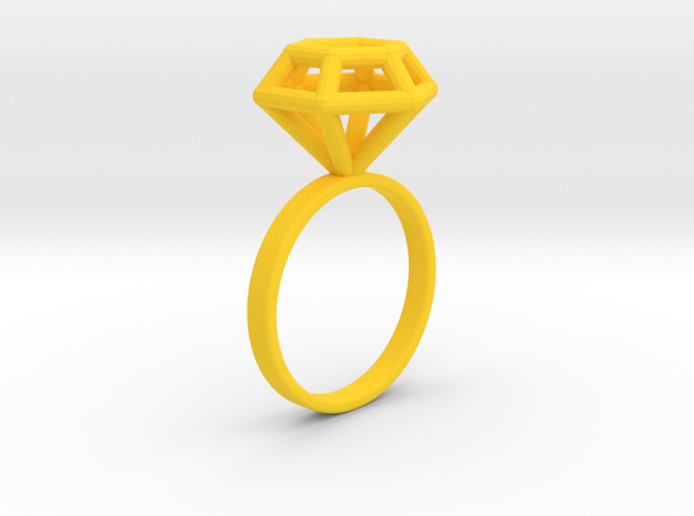 Wireframe Diamond Ring (size 7) in Yellow Processed Versatile Plastic