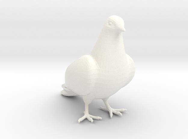 Bird No 2 (Dove) in White Processed Versatile Plastic