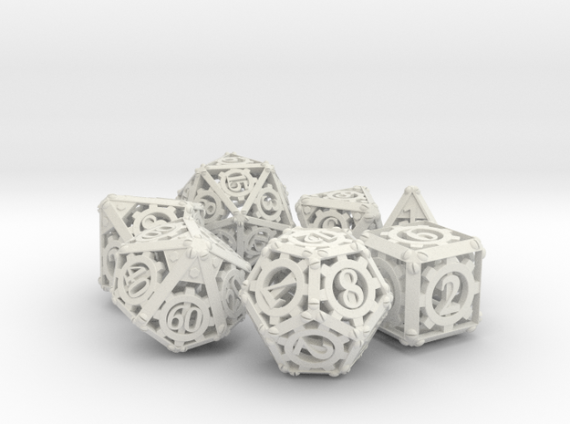 Steampunk Dice Set in White Natural Versatile Plastic