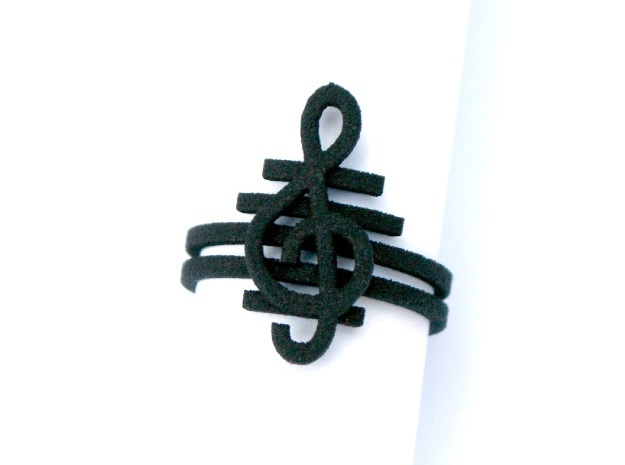 G clef string ring size 8 U.S. in Black Natural Versatile Plastic
