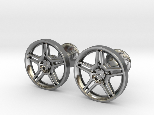 Mercedes Benz E55 AMG Cufflinks in Polished Silver